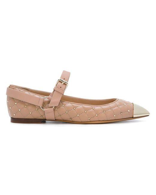 3f6f1623cbac Lyst - Valentino Garavani Rockstud Spike Ballerinas in Pink - Save 53%