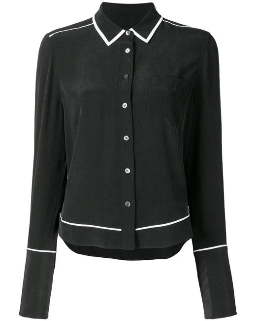 Equipment - Black Contrast-trim Long Sleeve Shirt - Lyst
