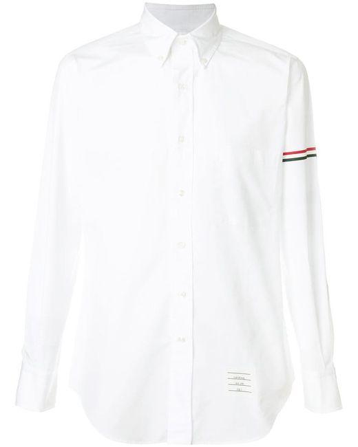 Thom Browne - White Rwb Hairline Armband Poplin Shirt for Men - Lyst