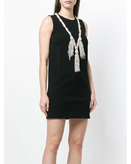529fab0f6b81 Gucci Pearl Tassel Neckline Mini Dress in Black - Save 44% - Lyst