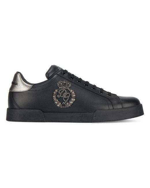 Dolce & Gabbana - Black Embroidered Low-top Sneakers for Men - Lyst