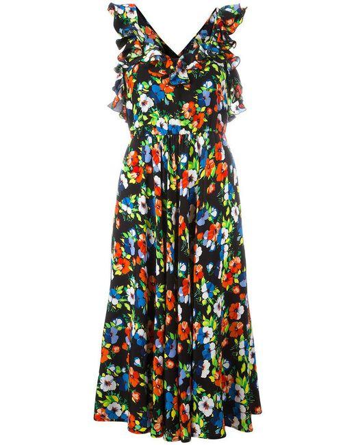 MSGM | Black Crossed Back Floral Dress | Lyst