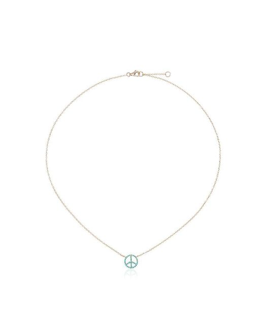 Rosa De La Cruz - Metallic 18k Gold Necklace With Turquoise Peace Pendant - Lyst