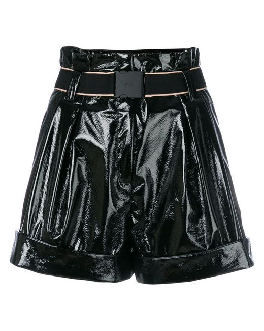 N°21 | Black High-waisted Wide Shorts | Lyst