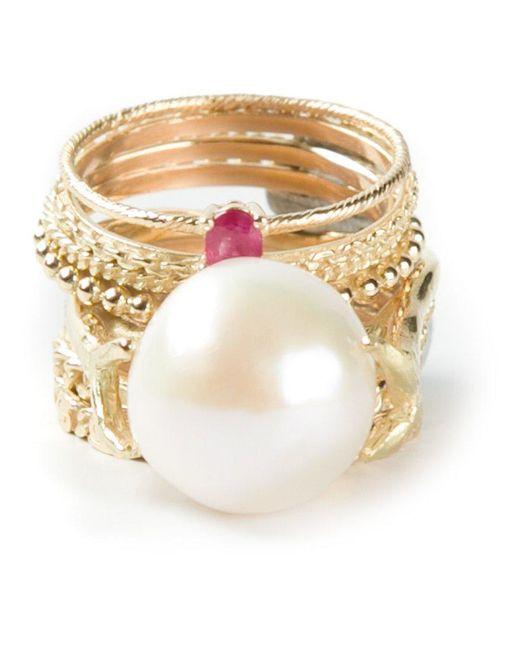 Wouters & Hendrix | Yellow 'pearl & Ruby' Set Of 9 Rings | Lyst