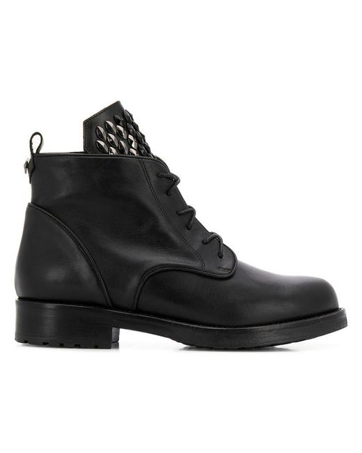Albano - Black Studded Tongue Boots - Lyst