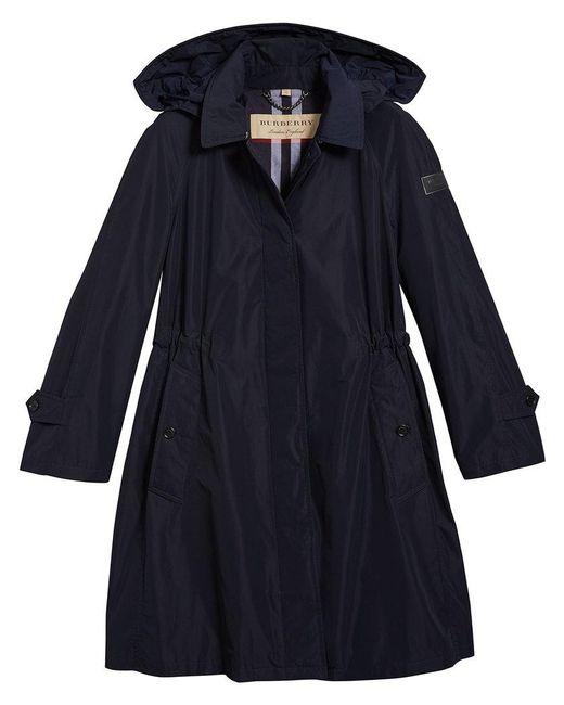 Burberry - Blue Detachable Hood Showerproof Coat - Lyst
