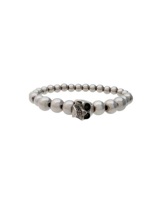Alexander McQueen - Metallic Skull Multibeaded Bracelet for Men - Lyst
