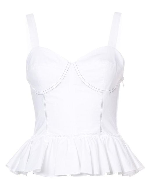 TOME - White Peplum Bustier Top - Lyst