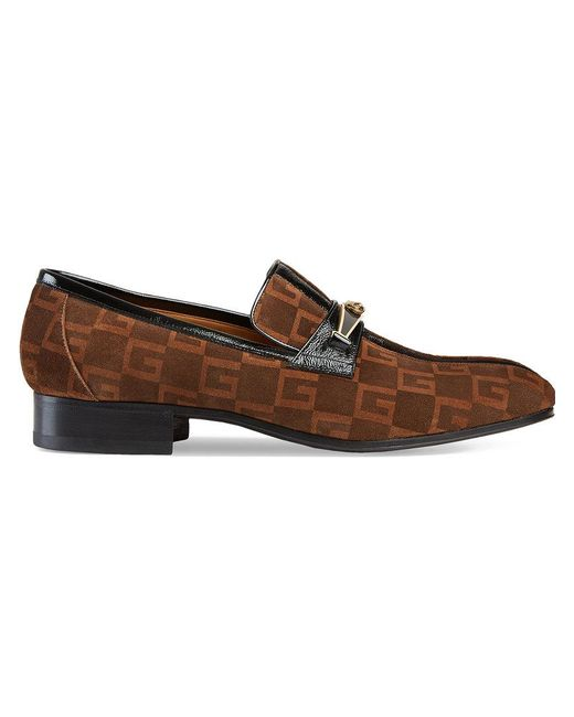 Gucci - Brown Suede Square G Loafers With Stripe for Men - Lyst