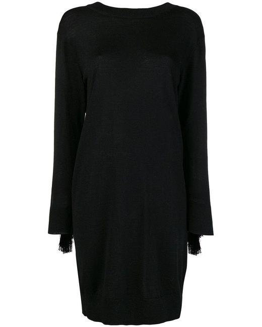 Nude - Black Fringe Detail Sweater Dress - Lyst