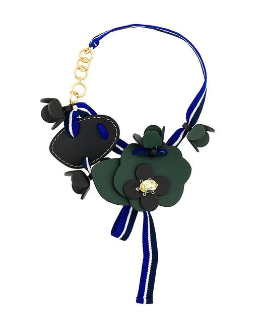 Marni - Green Floral Web Necklace - Lyst