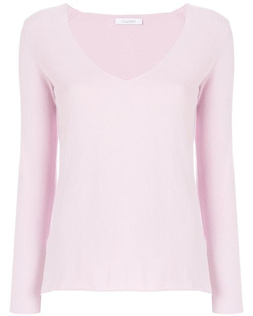 Cruciani - Pink V-neck Sweater - Lyst