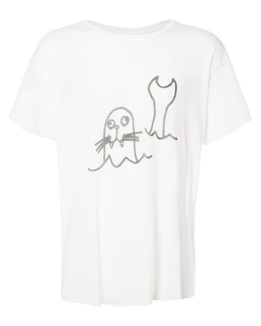 The Elder Statesman | White Sketch Print T-shirt for Men | Lyst
