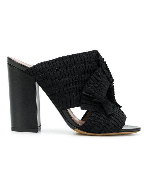 Tabitha Simmons - Black Pleated Grosgrain Sandals - Lyst