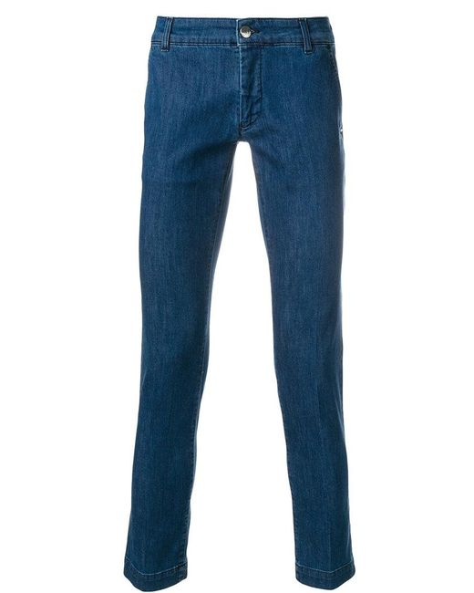 Entre Amis - Blue Cropped Slim Fit Jeans for Men - Lyst
