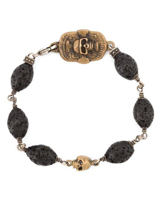 Roman Paul - Black Skull Motif Beaded Bracelet for Men - Lyst