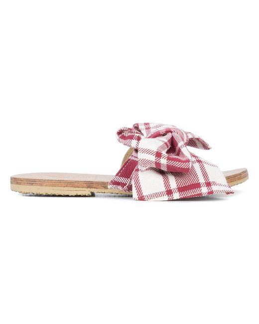 Brother Vellies Burkina Papaye stripe slides - Red Aclaramiento Comercializable D3nIzb8RwL
