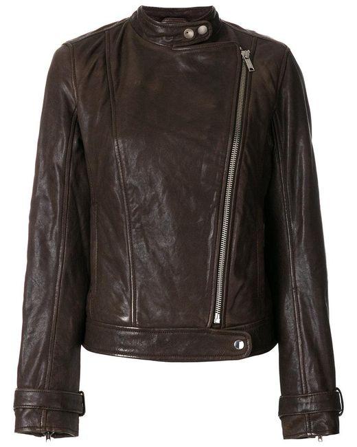 Dondup | Brown Zipped Biker Jacket | Lyst