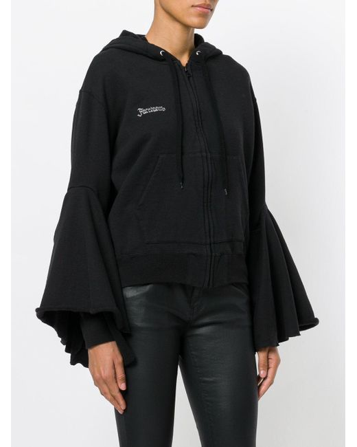 With Paypal Low Price Free Shipping Huge Surprise bell sleeves zipped hoodie - Black Facetasm 4eb68vY