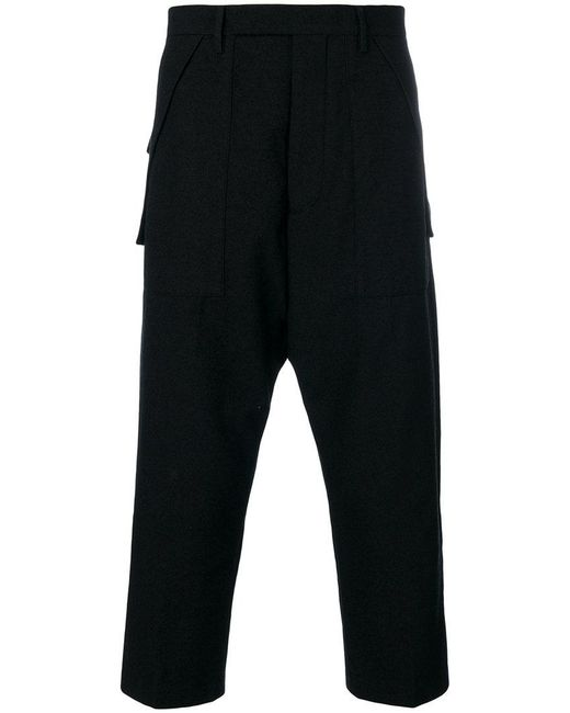 Rick Owens - Black Drop Crotch Tailored Trousers for Men - Lyst