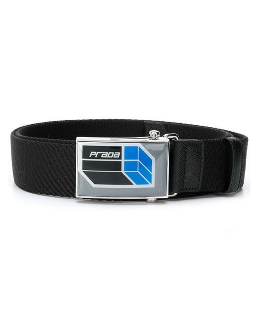 Prada - Black Front Logo Belt for Men - Lyst
