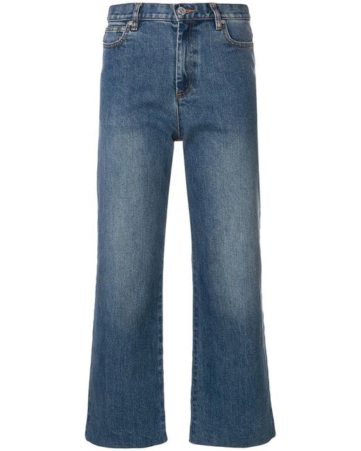 A.P.C. - Blue Cropped Straight-leg Jeans - Lyst