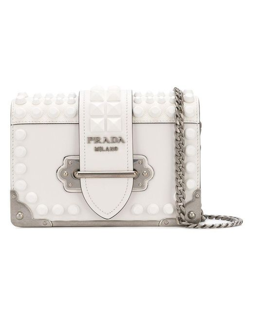 Prada - White Studded Small Cahier Bag - Lyst