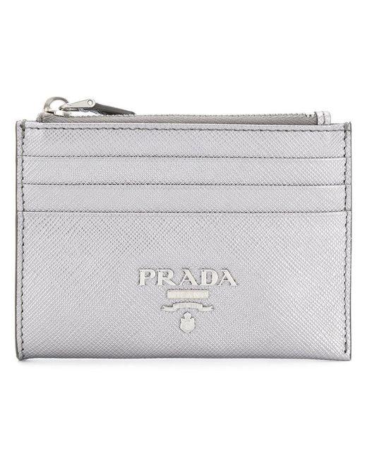 Prada - Metallic Zipped Wallet - Lyst