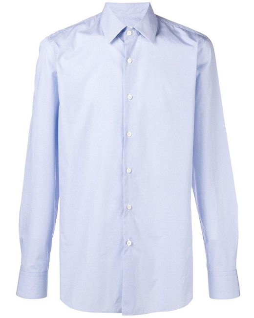 Prada - Blue Circle Printed Collared Shirt for Men - Lyst