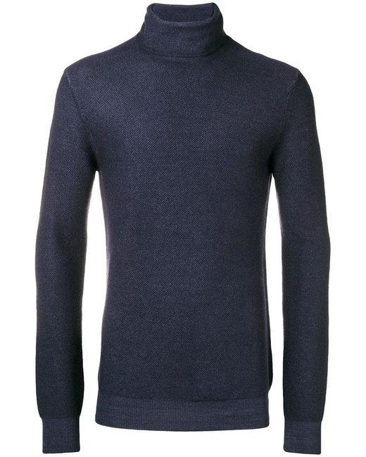 Paolo Pecora - Blue Roll-neck Fitted Sweater for Men - Lyst