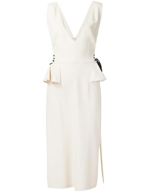 TOME | White 'stretch V-neck Peplum' Dress | Lyst