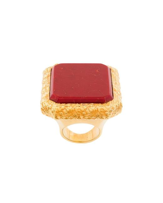 Balenciaga - Red Large Square Ring - Lyst