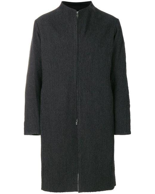 DEVOA - Gray Zip Front Coat for Men - Lyst