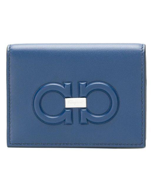 Ferragamo - Blue Embossed Gancio Wallet for Men - Lyst