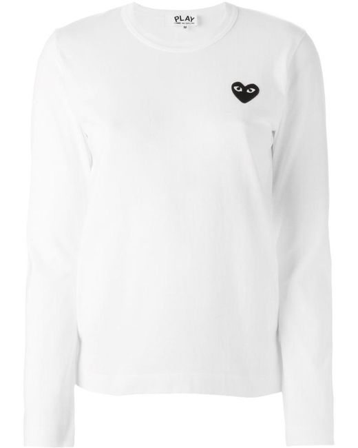 Play Comme des Garçons - White Embroidered Heart Longsleeved T-shirt - Lyst