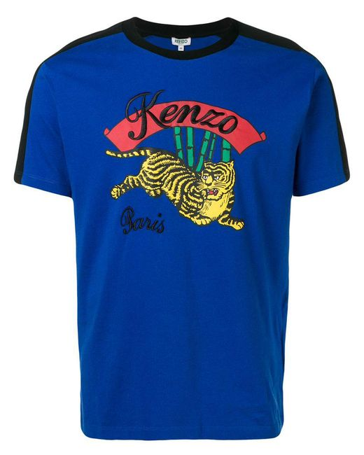 KENZO - Blue Jumping Tiger Cotton T-shirt for Men - Lyst
