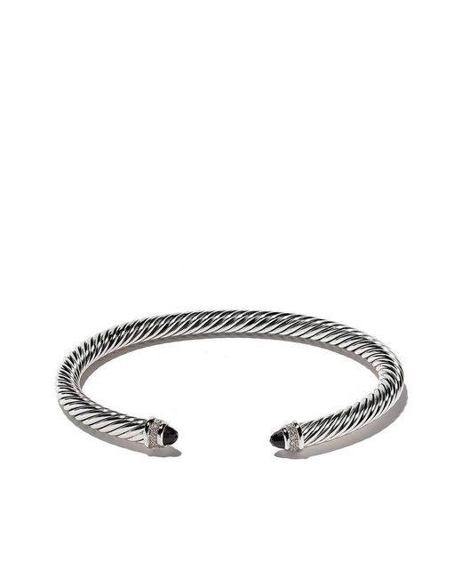 David Yurman - Multicolor Cable Classics Onyx And Diamond Cuff Bracelet - Lyst