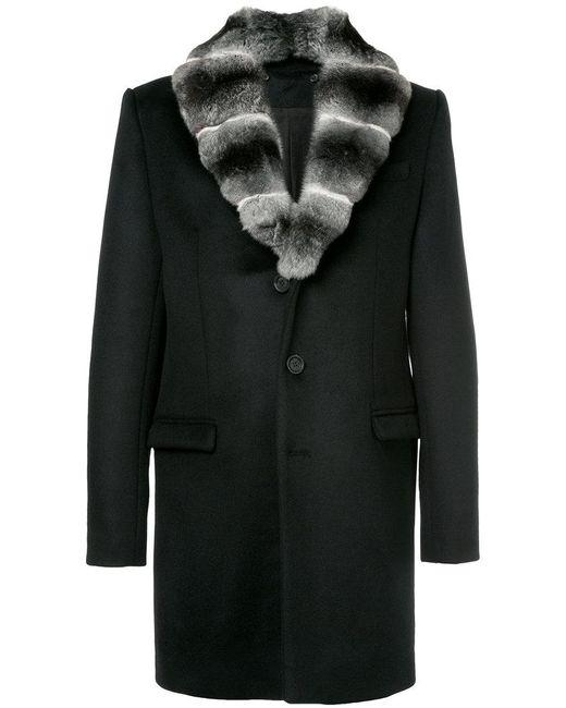Yves Salomon - Black Fur Lapel Coat for Men - Lyst