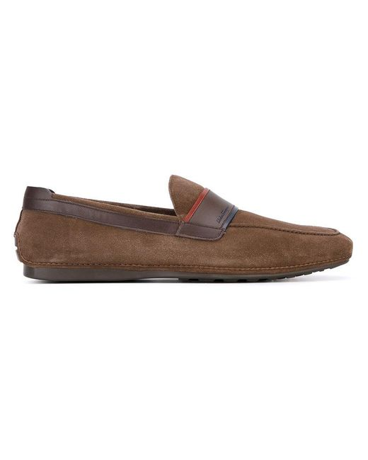 Ferragamo - Brown Contrast Trim Loafers for Men - Lyst
