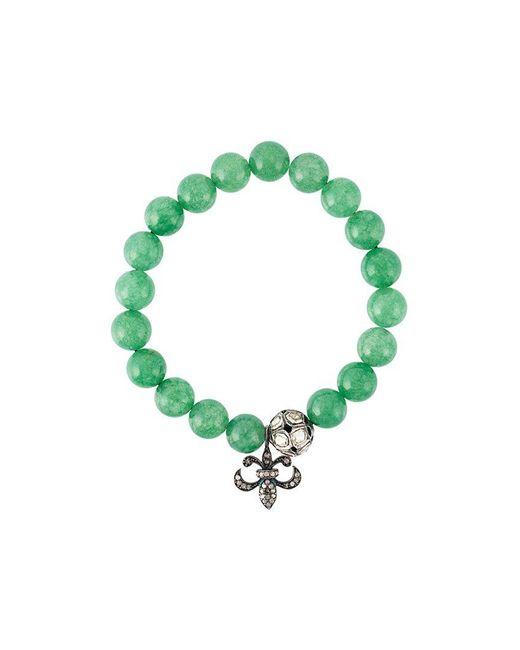 Gemco - Green Bead Diamond Charm Bracelet - Lyst