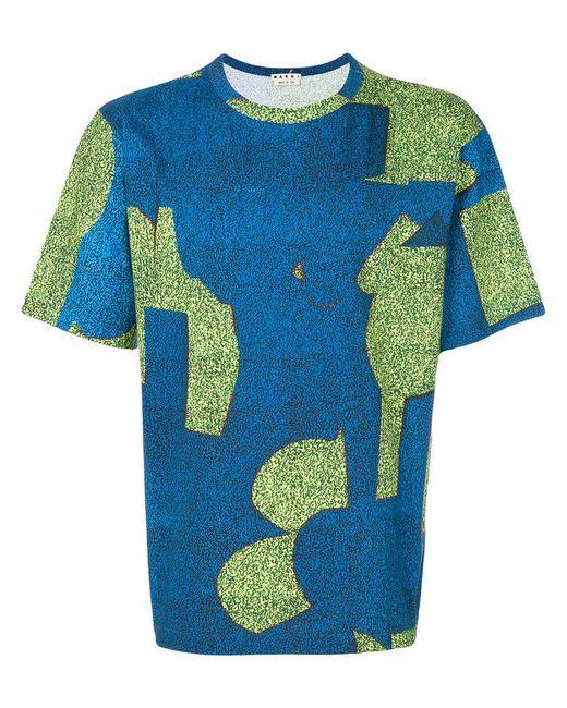 Marni - Blue Patterned T-shirt for Men - Lyst