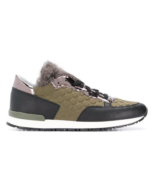 Pollini - Green Panelled Lace-up Sneakers - Lyst