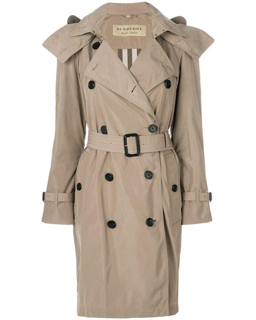 Burberry - Natural Detachable Hood Tafetta Trench Coat - Lyst