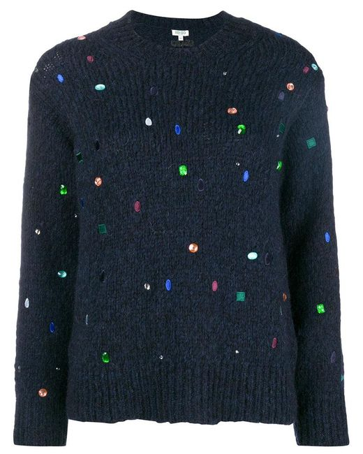 Lyst - KENZO Jewel Embellished Sweater in Blue - Save 24% 0100a06ee