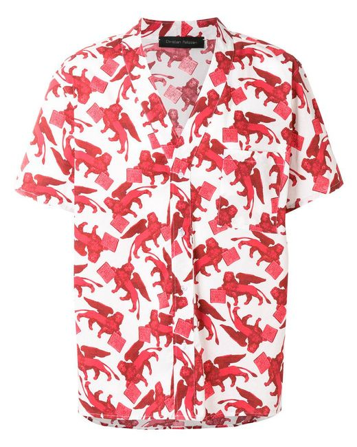 Christian Pellizzari - Red St Leone Of Venice Printed Shirt for Men - Lyst