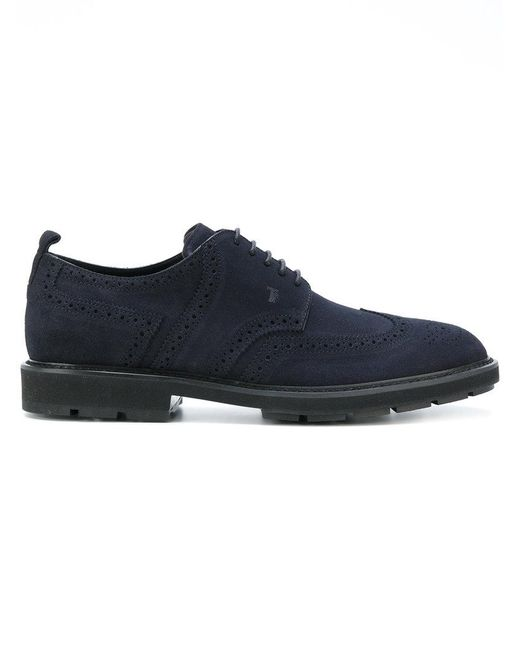 Tod's - Blue Brogue Shoes for Men - Lyst