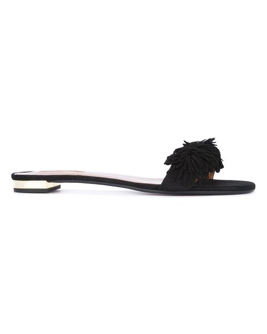 Aquazzura - Black 'wild Thing' Slide Sandals - Lyst