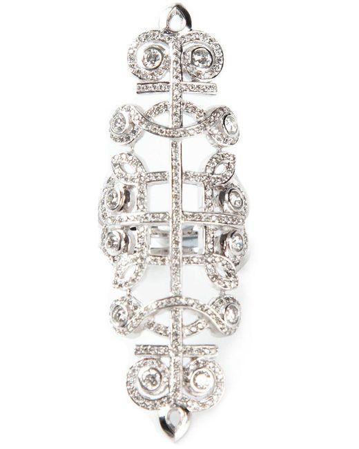 Nikos Koulis - Metallic Pavé Diamond Embellished Ring - Lyst