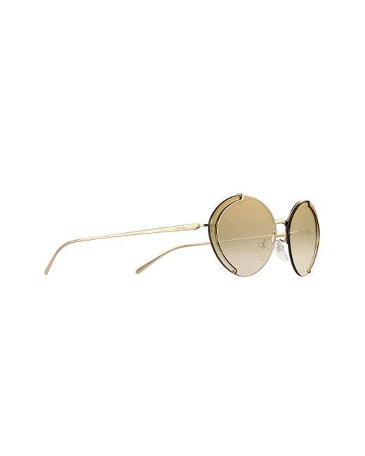 976c8c44e6 ... Prada - Metallic Round Frame Sunglasses - Lyst ...